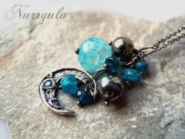 Crescent Blue Moon necklace hand made of Silver by nurrgula