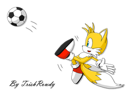 Tails playing football :3 by TrishRowdy