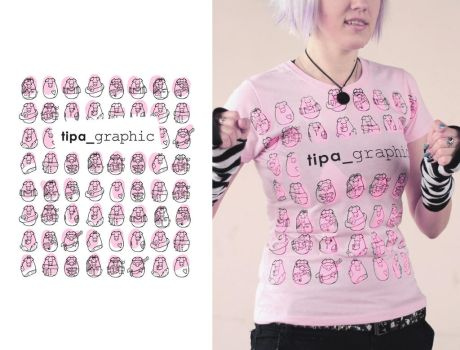 Pink piggies lady tshirt by Haidak