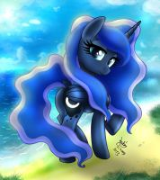 MLP FIM - Elegant Princess Luna At The Beach by Joakaha