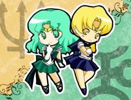 Sailor Uranus and Neptune by tachiik