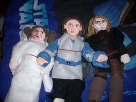 Star Wars Dolls - Leia, Padme and Anakin by WildHorseFantasy