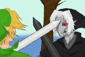 Link vs Dark Link by donuttouch