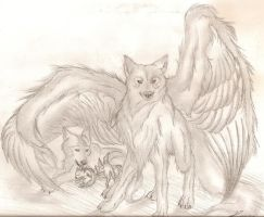 Under My Wing,Winged Wolf by Super-Sonic-101