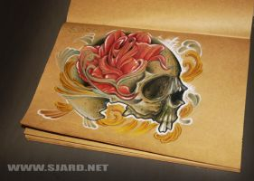 Rose in skull by Sjard