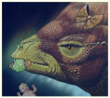 Dinosaurs and Babies in Space by EyeBallPingPongPro
