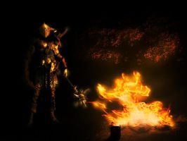 Soldier and Fire by Xiox231