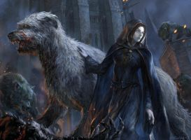 Luthien and Huan in Tol-in Gaurhoth by VargasNi