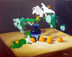 Still Life - Flowers with Oranges by macourtney