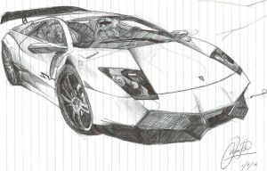 lamborghini sketch in school by chrislah294
