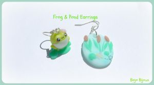 Frog and pond earrings by Bojo-Bijoux