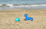Cunomon and Porpamon at the beach by Kenliano