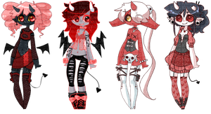 [CLOSED] little red devils by KNicADOPTS