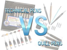 Technical Pens VS Quill pens by hydestock