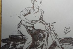 Old-School Motorcyclist by Writer4Him