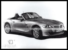 BMW Z4 Pencil Drawing by raimondiphotography
