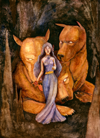 Persephone and Cerberus by matildarose