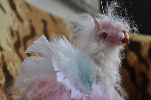 Pink Albino fairy lama baby sculpture by AnetteAga