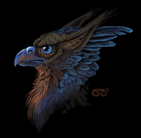 Blue crested griff by griffsnuff
