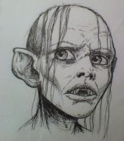 Attempt at realism-Disturbed Smeagol by smeagolisme