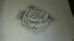Tattoo style rose by Toast007