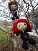 Avengers Plushie - Black Widow and Hawkeye by hlessirah