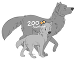 Wolf pup and adult - Pay to use base by dizzyAdopts