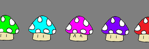 Colorful Mushrooms. by TheSoulKeeperz