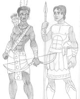 Kushite and Greek Soldiers by DaBrandonSphere