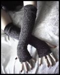 Granite Mohair Arm Warmers by ZenAndCoffee