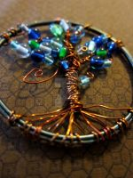 Water Elemental Wire Wrapped Tree of Life Pendant by ValkyrieOfODIN