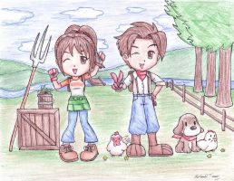 Harvest Moon Contest Drawing by gloomknight