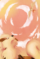 Arcanine and Pidgeot by Aikyun