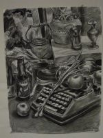 Charcoal Still Life on White by Lostro