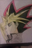 Wax paper painting of Atem's head by Noctis-Tsukuyomi