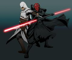 Altair vs. Darth Maul by doubleleaf
