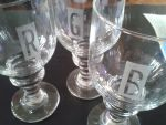 Frosted Groomsmen Monogram Glasses by KimNichole
