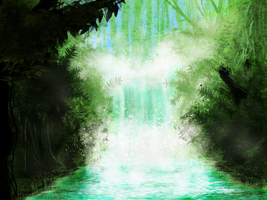 Ashenvale waterfall by Nialthstrasz