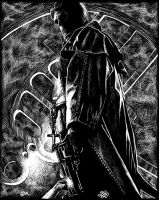 Hellboy scratch board by Alentrix