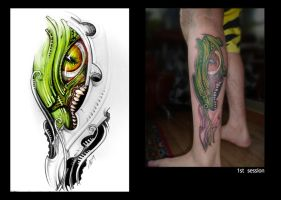 dragon biomechanics tattoo by grimmy3d