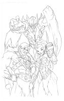 Justice League of Eternia WIP pencils by GavinMichelli