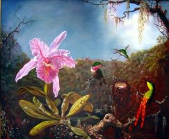 hummingbirds and orchids by Flaven