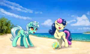 Lyra and Bon Bon at the beach by KP-ShadowSquirrel