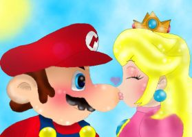 Princess Peach kiss the hero by wiggler94