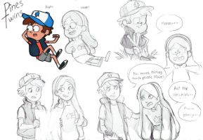 Dipper and Mabel sketches by SkiM-ART