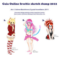 2012 Gaia Online freebie sketch dump by Selene-Blackthorn