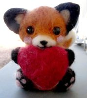 Needle felted Valentine's day fox -Sweetie by Throughawolfseyes