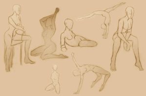 Female Poses Study by GlassLotuses
