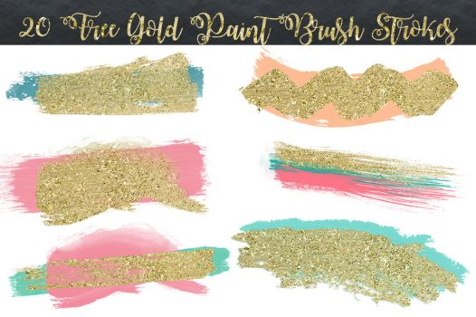20 Free Gold Brush Strokes by toxiclolley88