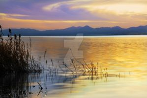 Utah Lake Looking south sunset by houstonryan